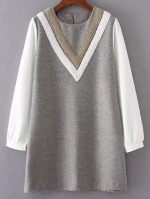 V Pattern Wool Spliced Shift Dress - Gray