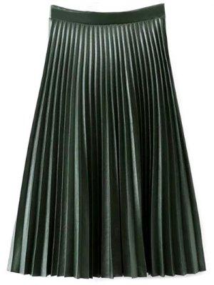 PU Leather Accordion Pleat Skirt - Blackish Green