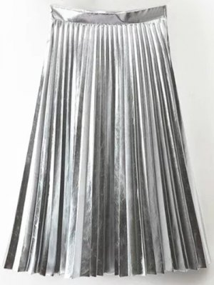 PU Leather Accordion Pleat Skirt - Silver