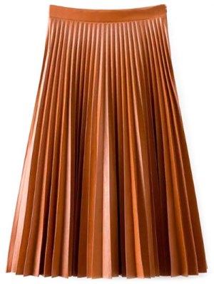 PU Leather Accordion Pleat Skirt - Darksalmon