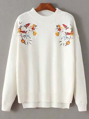 Bird Embroidered Mock Neck Knitwear - White