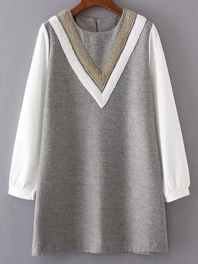 Wool Spliced Shift Dress
