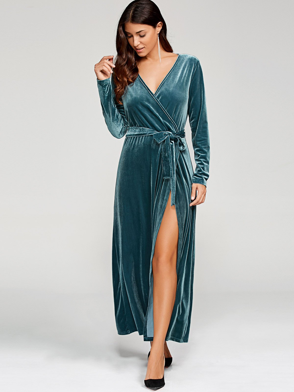 Velvet Tie Belt Robe Dress
