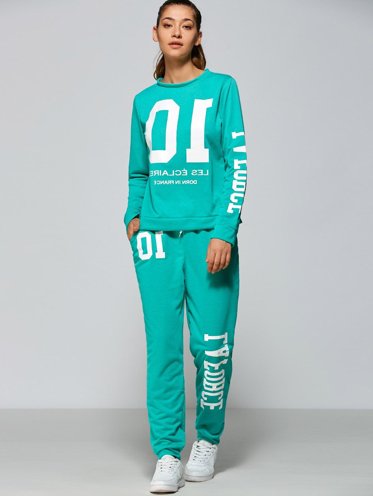 Number Print Sweatshirt and Drawstring Pants