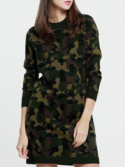 Camoflage Jacquard Long Sweater