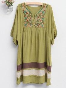 Embroidered Bib Tunic Dress