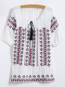 Embroidered Elbow Sleeve Top