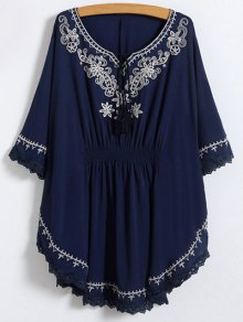 Tie Neck Embroidered Kaftan Top