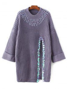 Sequins High Slit Beaded Sweater Dress - Purple