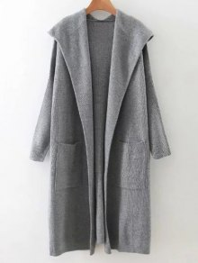 Long Hooded Knitted Cardigan