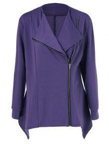 Plus Size Asymmetric Side Zipper Jacket