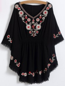 Buy Floral Embroidered Kaftan Top ONE SIZE BLACK