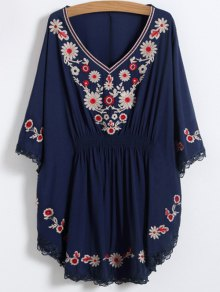 Buy Floral Embroidered Kaftan Top ONE SIZE PURPLISH BLUE