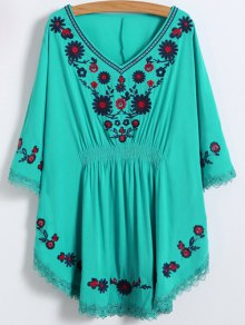 Floral Embroidered Kaftan Top