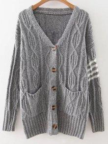 Buy V Neck Striped Cardigan - LIGHT GRAY ONE SIZE