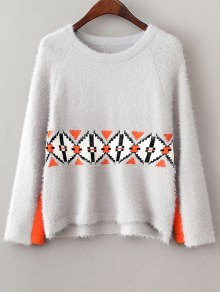 Jacquard Knit Fluffy Jumper