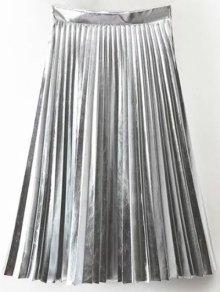 PU Leather Accordion Pleat Skirt