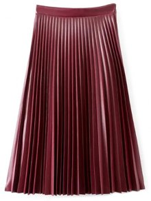 PU Leather Accordion Pleat Skirt - Wine Red M