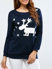 Christmas Deer Print Snowflake Sweatshirt