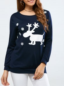 Christmas Deer Print Snowflake Sweatshirt - Purplish Blue S