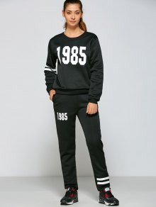 Number And Striped Print Sports Outfits - Black S