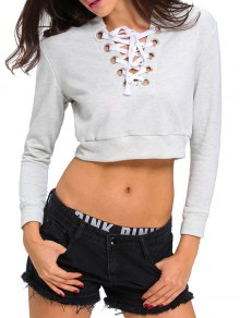 Lace Up Cropped Top - Light Gray L