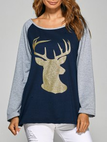 Raglan Sleeve Christmas Deer Spliced Tee
