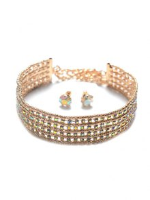 Tiered Rhinestone Choker Set