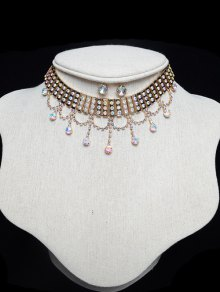 Layered Rhinestone Drop Choker Set - Golden