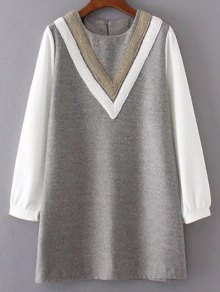 V Pattern Wool Spliced Shift Dress