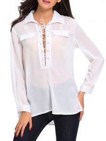 Lace Up High Low See Through Shirt