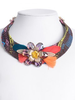 Ethnic Feather Flower Embellished Statement Choker - Rose Red