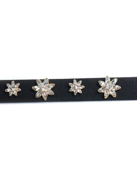 best Concise Floral Rhinestone Choker - GOLDEN  Mobile
