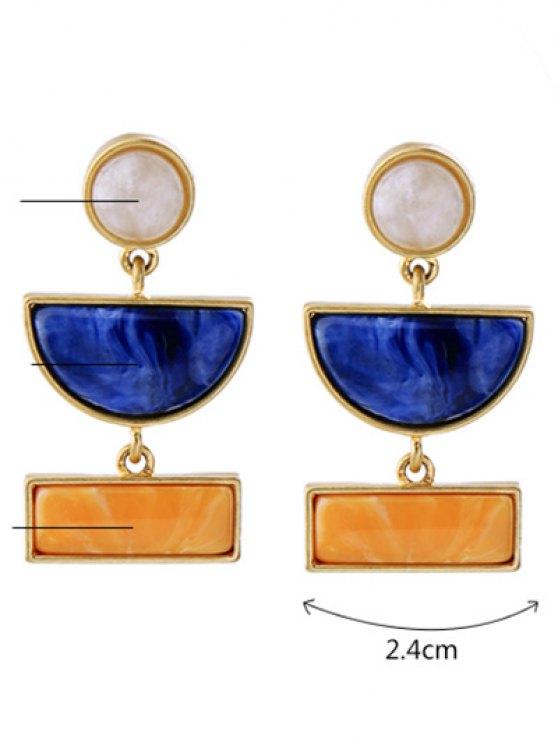 Geometric Fake Gemstone Drop Earrings - GOLDEN  Mobile