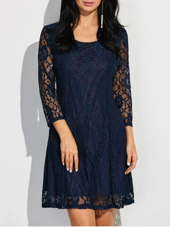 online Short Lace Dress With Sleeves - PURPLISH BLUE 2XL