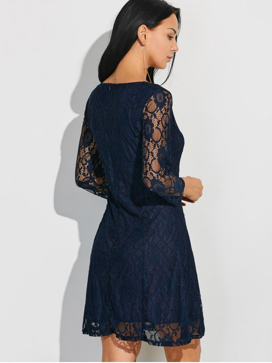 Short Lace Dress With Sleeves - PURPLISH BLUE S Mobile