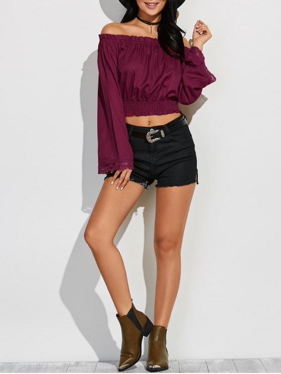lady Off Shoulder Flared Sleeve Blouson Top - WINE RED S