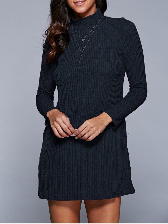 shop Long Sleeve A Line Sweater Dress - PURPLISH BLUE XL