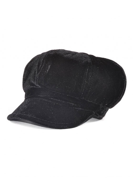 Soft Outdoor Adjustable Pleuche Beret Cap - BLACK  Mobile