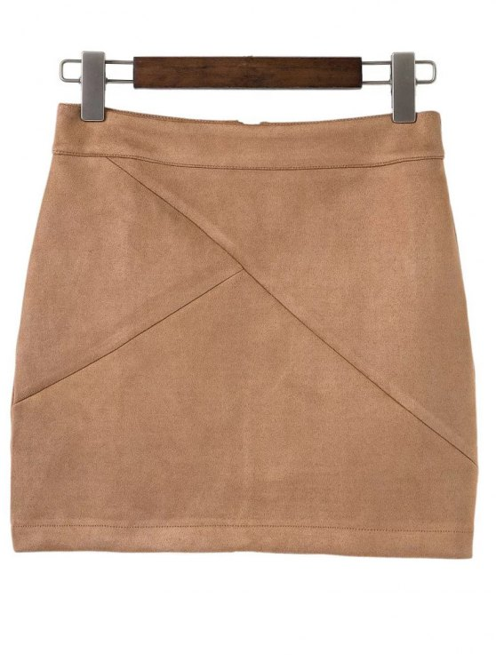 trendy Mini Faux Suede Skirt - KHAKI S