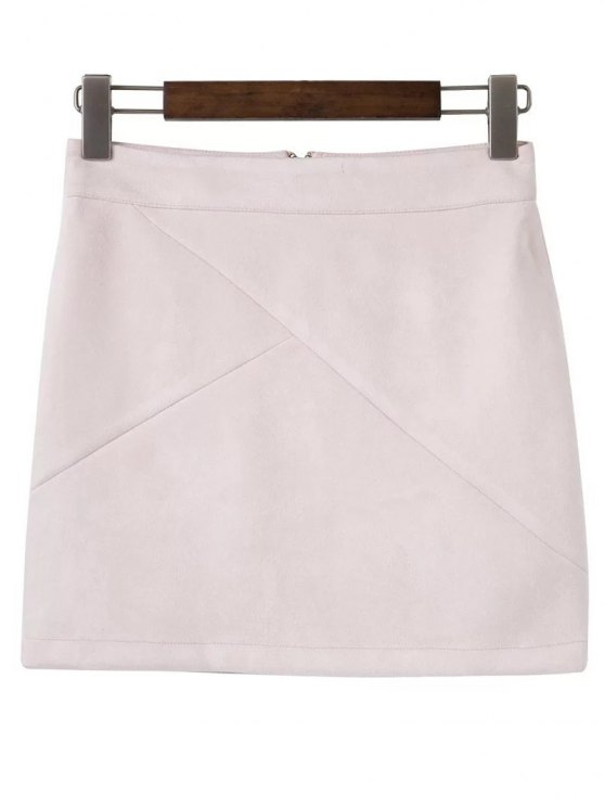 chic Mini Faux Suede Skirt - SHALLOW PINK M