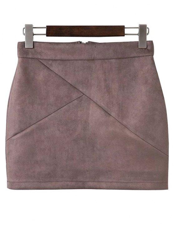 Mini falda de gamuza sintética - Color de Raíz de Loto   S