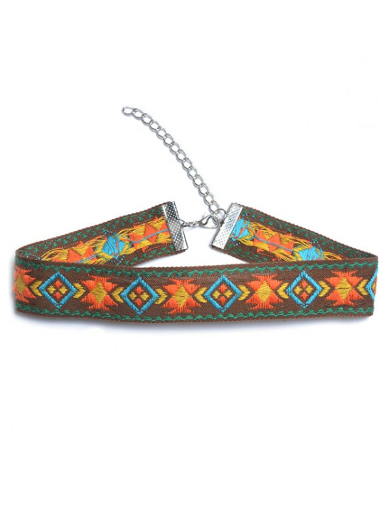 buy Embroidered Choker - ORANGE