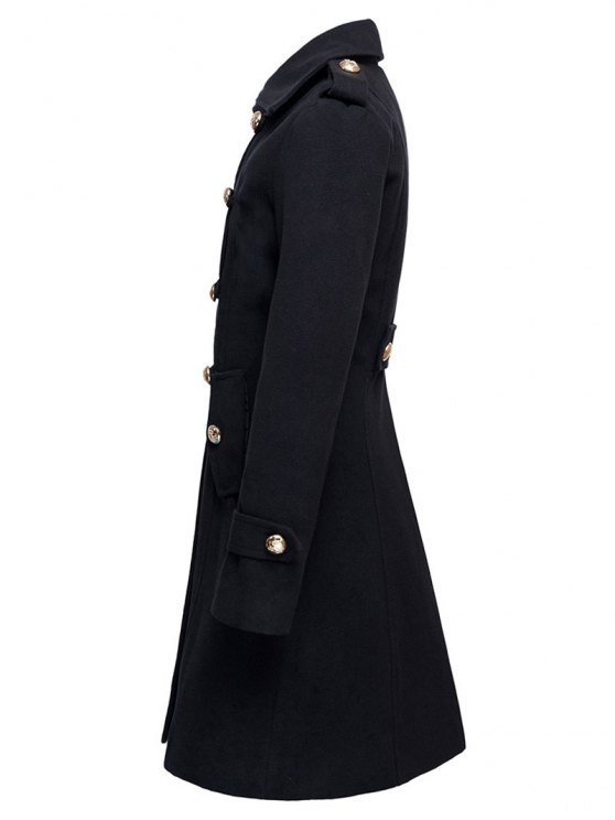 Woolen Double-Breasted Coat - BLACK XL Mobile