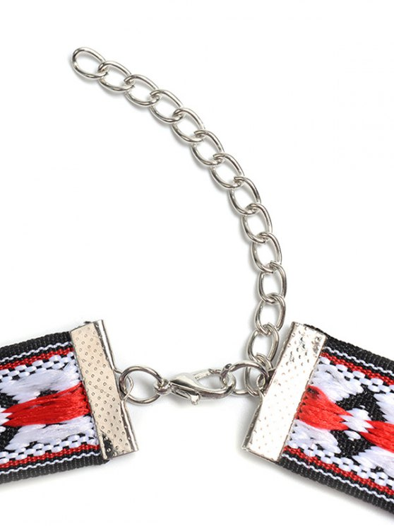 Square Embroidered Choker - COLORMIX  Mobile