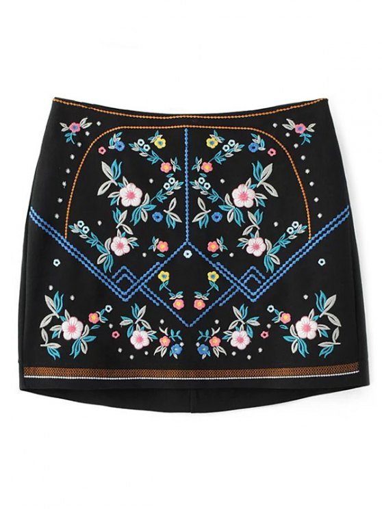 Floral Embroidered Sheathy Mini Skirt - BLACK M Mobile