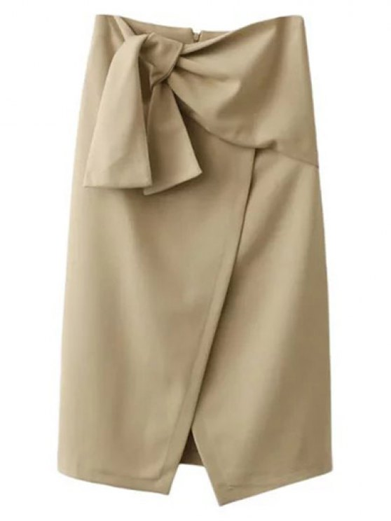 Atado asimétrico delantero falda de hendidura - CaquiClaro S