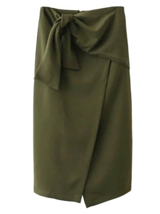 Tied Asymmetric Front Slit Skirt - Army Green S