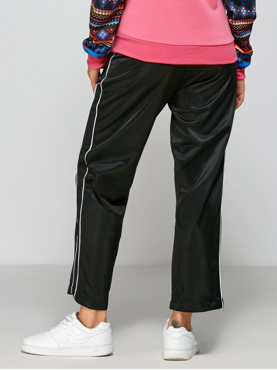 Striped Fitting Track Pants - BLACK ONE SIZE Mobile