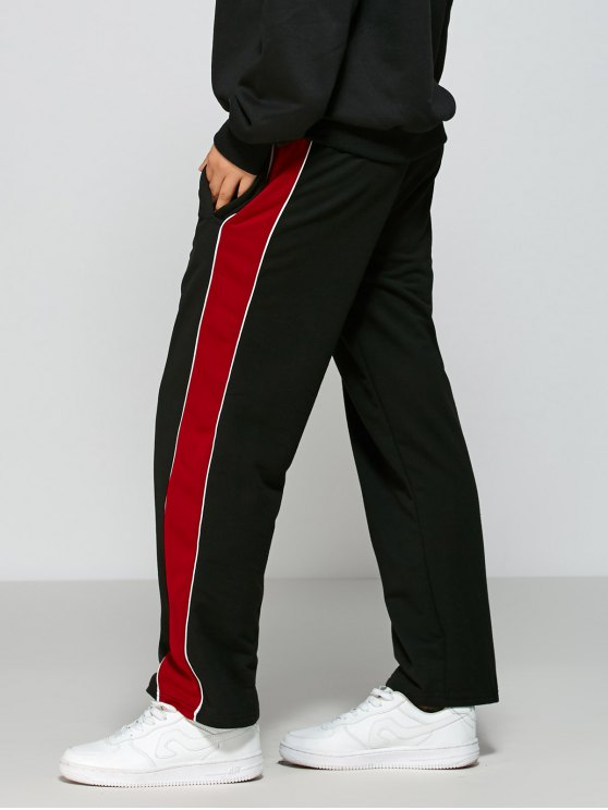 Color Block Fitting Track Pants - BLACK M Mobile